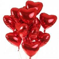 Связка из 15 фольгированных сердец