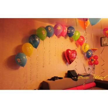 Цепочка из шаров+фольгированное сердце