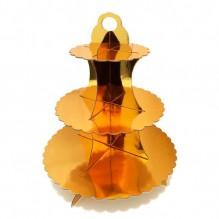 Подставка для пирожных трехъярусная Золотая